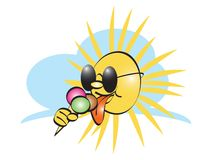 Sun with icecream. Sun with sunglasses  cartoon illustration Stock Photos