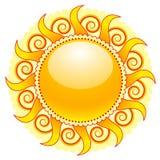 Sun icon. Shiny sun icon isolated on white Stock Photos