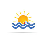 Sun icon with beach ball color vector Stock Photography