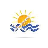 Sun icon with beach chair color  Stock Photo