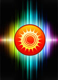 Sun Icon Button on Abstract Spectrum Background Stock Images