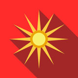 Sun icon in flat style. On a red background Stock Photography