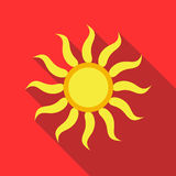Sun icon in flat style. On a red background Stock Photos