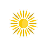 Sun icon in flat style. On a white background Stock Photos