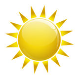 Sun icon. Gold sun icon on white isolated Royalty Free Stock Photography