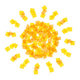 Sun icon made with orange pieces Royalty Free Stock Photos