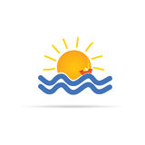 Sun icon with paper boat and sea illustration Royalty Free Stock Photo