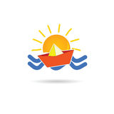 Sun icon with paper boat vector illustration Stock Photography