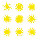 Sun icon set. Collection of abstract elements. Vector illustration Stock Photos