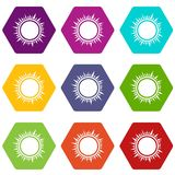 Sun icon set color hexahedron. Sun icon set many color hexahedron isolated on white vector illustration Royalty Free Stock Images