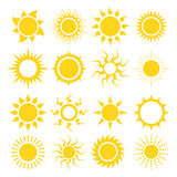 Sun icon set. Sun icon silhouette set in  format Royalty Free Stock Image