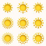 Sun icon set. Summer sky elements. Sun silhouettes collection. Isolated sun symbol. Cute cartoon sun icons. vector illustration
