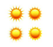 Sun icon set vector orange and yellow sun symbols Stock Photos