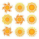 Sun icon set on white background. Vector Royalty Free Stock Images