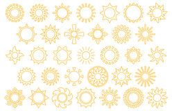 Sun icon set. Set of yellow sun line icon graphics on white Royalty Free Stock Image