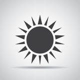 Sun icon with shadow on a gray background. Vector illustration Stock Image