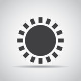 Sun icon with shadow on a gray background. Vector illustration Royalty Free Stock Photography