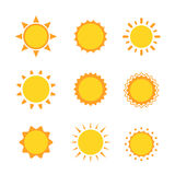 Sun icon sign set collection flat symbol, Vector illustration. Sun icon sign set, collection, flat symbol Royalty Free Stock Images