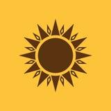The sun icon. Sunrise and sunshine, weather, sun symbol. UI. Web. Logo. Sign. Flat design. App. Stock Royalty Free Stock Image