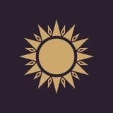 The sun icon. Sunrise and sunshine, weather, sun symbol. UI. Web. Logo. Sign. Flat design. App. Stock Royalty Free Stock Photography