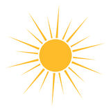 Sun icon vector. Sun icon with long rays. Vector illustration Royalty Free Stock Photo