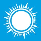 Sun icon white. Isolated on blue background vector illustration Stock Images