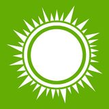 Sun icon green. Sun icon white isolated on green background. Vector illustration Royalty Free Stock Photos