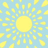 Sun icon. Yellow rays of light. Cute cartoon shining object. Hello summer. Blue background. Flat design Stock Photography