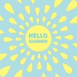 Sun icon. Yellow rays of light. Cute cartoon shining object. Hello summer text. Blue background. Flat design Royalty Free Stock Photos