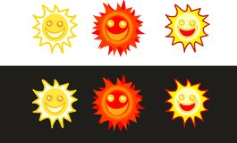 Sun icons. A set of isolated sun smiley icons Royalty Free Stock Image