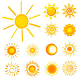 Sun icons. Yellow sun icons and  illustration Stock Images