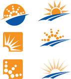 Sun Icons. Collection of 6 icons of the sun, and some water elements to illustrate summer Royalty Free Stock Images