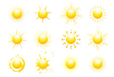 Sun icons. Illustration set of 12 sun icons Stock Illustration