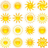 Sun icons. Large collection of various designs of sun icons Royalty Free Stock Photography