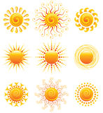 Sun icons. Vector illustration of 9 bright sun icons royalty free illustration
