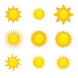 Sun icons. Collection of sun icons on white background Royalty Free Stock Photos