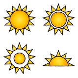 Sun icons. Collection of 4 vector isolated yellow sun elements with black pencil outline on white background. Ideal for company logo, icon, illustration Stock Photos