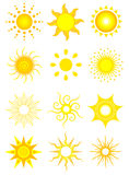 Sun Icons. 12 vector icons of the sun in various designs vector illustration