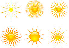 Sun icons. Various styles of sun icons Stock Photos