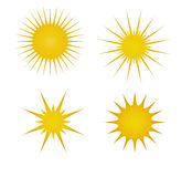 Sun Icons. Illustration of 4 different sun icons depicting summer Stock Photography