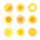 Sun icons. Set of sun vector icons Royalty Free Stock Image
