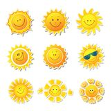 Sun icons. Beautiful elements for design. Royalty Free Stock Photography