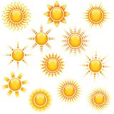 Sun Icons Collection Stock Photos
