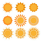 Sun icons collection. Royalty Free Stock Photography