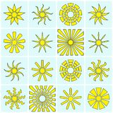 Sun icons collection Royalty Free Stock Photos