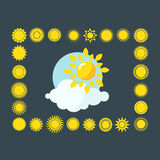 Sun icons collection vector illustration. Royalty Free Stock Photo