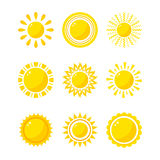 Sun icons collection vector illustration. Stock Photography