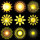 Sun Icons Collection Vector Stock Images