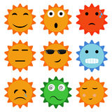Sun icons with emotions. Royalty Free Stock Images