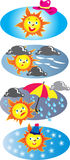 Sun icons. Four sun icons, vector illustrations. The sun has got his hat on, wind and showers,pouring rain, rain clouds, and a red and yellow umbrella, snow Stock Photo